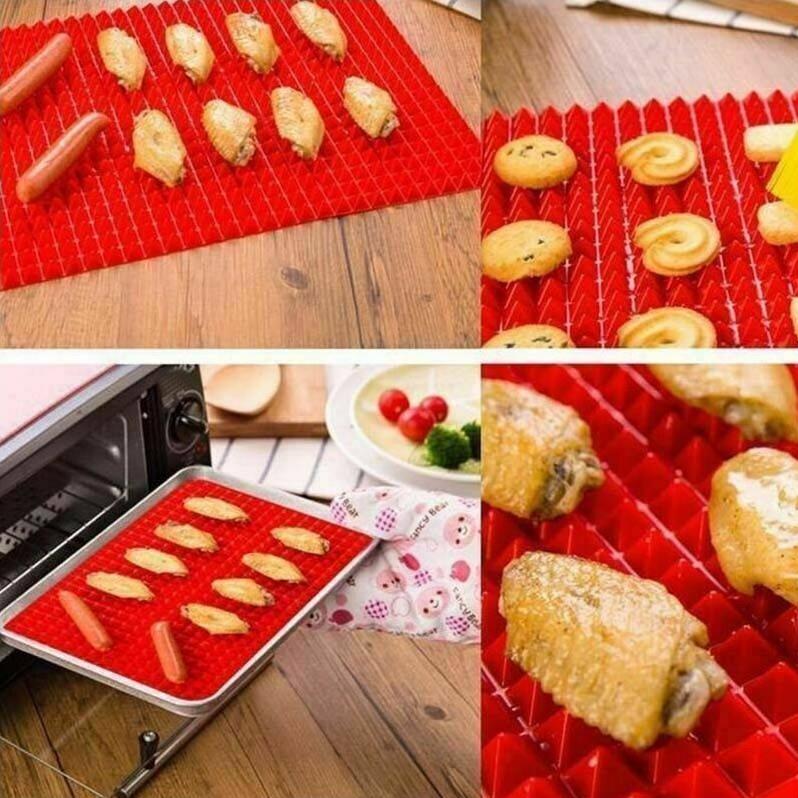 pyramid non stick silicone oven baking tray sheets mats pan fat reducing cooking 44382191