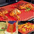 pyramid non stick silicone oven baking tray sheets mats pan fat reducing cooking 44382193